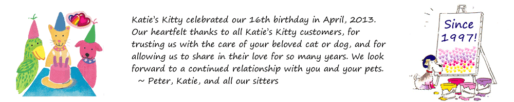 Since 1997, Katie's Kitty has been providing cat sitting and dog sitting in NYC, including Manhattan, Brooklyn, Queens, and The Bronx.